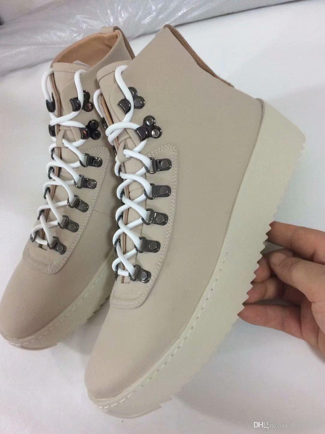 aafb2387c8d Fear Of God New Shoes High Top Leather Sneaker With Canvas Insets Fog Boots  Platform Men Fashion Leather Shoes Size 38 45 Hiking Boots Shoes For Women  From ...
