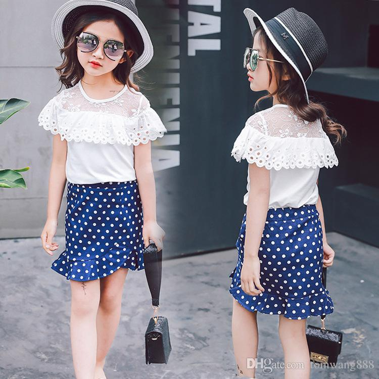 d9b5005c4dd6 2019 Sweet Girl Skirt Clothing Girls Spring Sets Long Sleeve Dots T  Shirt+Short Skirts Baby Girl S Dresses Children Outfits Kids Clothes From  Tomwang888