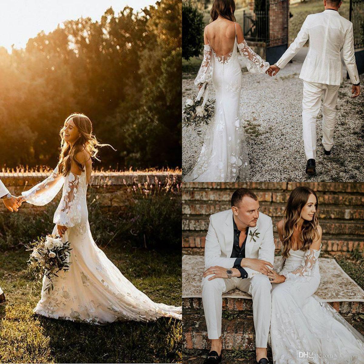 4c6b3d53466f Bohemian Lace Wedding Dresses 2019 Illusion Long Sleeve Hippie Style Boho Bridal  Gowns Fashion Beach Vestido De Noivas Sexy Backless Dress Dress Dresses ...