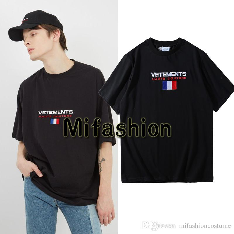 7ab36b93d60 Europe 2018 Summer Fashion Vetements Oversized T Shirt Embroidery France  Flag Hip Hop Haute Couture Tshirt Tee Top Buy Funny T Shirts Shirts And T  Shirts ...