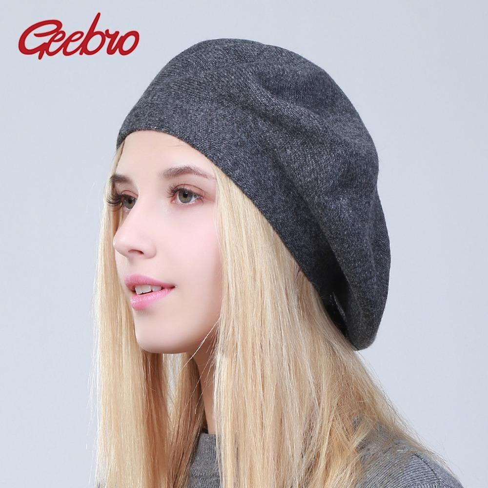 Compre Geebro Sombrero De Boina Francés Para Mujer Primavera Causal Liso  Negro Punto De Lana Boinas Para Damas Artista De Punto Boina Sombreros Para  Mujer ... 110eccb5588