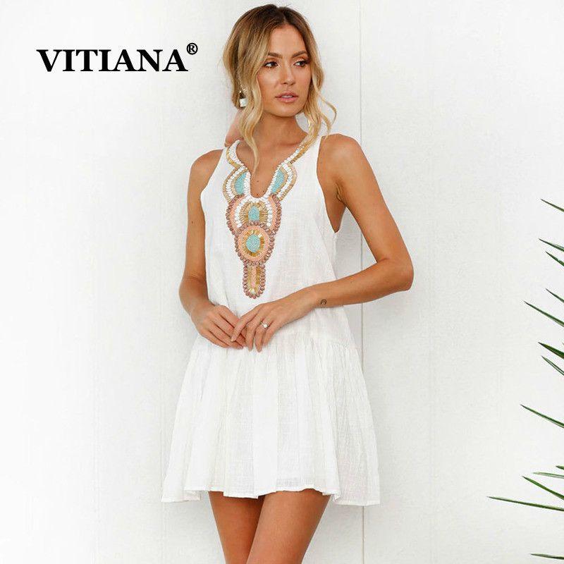 84e4b7fe9 Wholesale Women Beach Casual Sundress Female 2018 Summer White Print ...