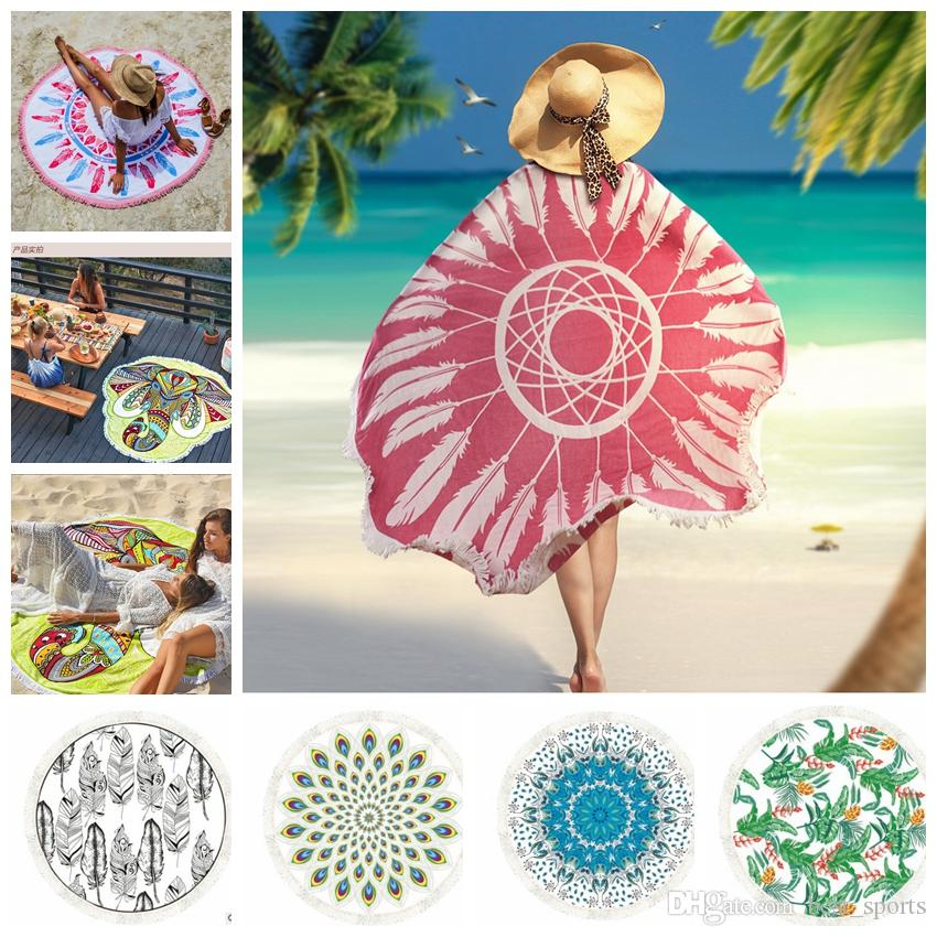 round Tassel beach towel Bed Cover Yoga Mat Cotton Table Cloth Printed outdoor camping picnic polyester Tassel Yoga Mat KKA4662