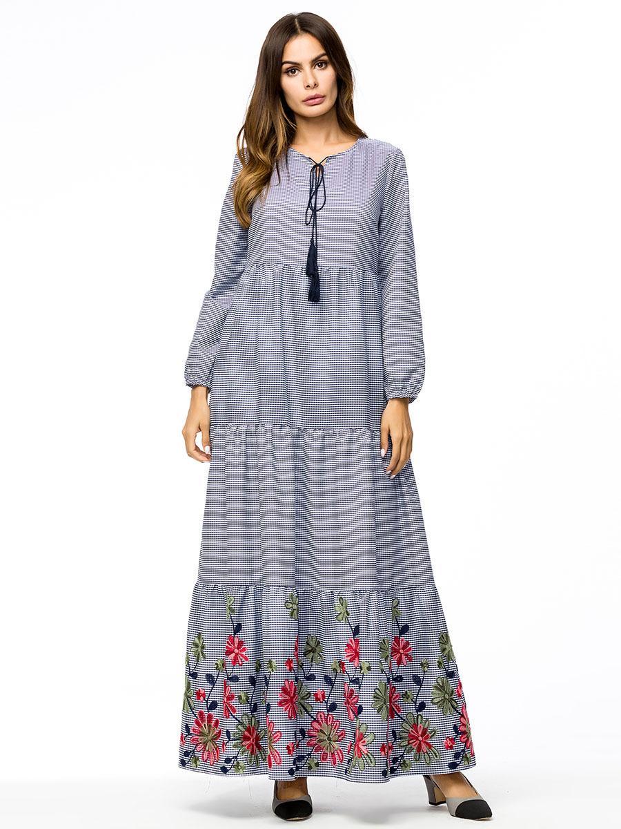 e5ac46a658 2019 187213 Kaftans Large Size Women S Dress Autumn New Loose Plaid Skirt  Long Round Neck Dress Female Baju Muslim Ofu Tamaitai Mosalemi From Insino