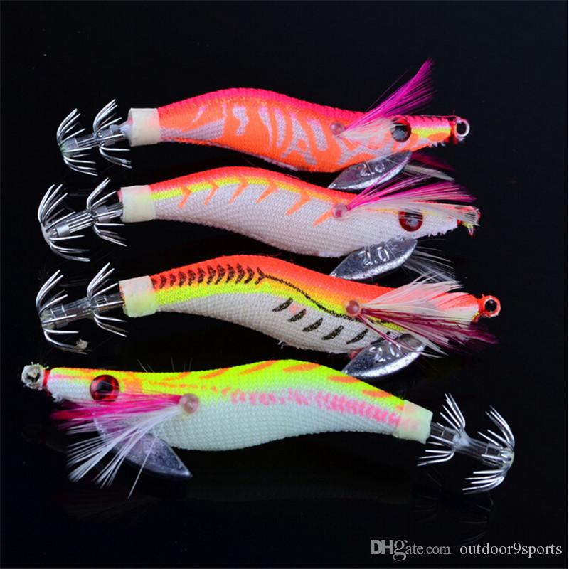 New Luminous Wooden Shrimp Artificial Bait 8cm 8g Simulation Prawn Lure Fishing Hooks Baits for Sale
