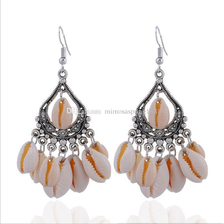Silver Drop Earrings for Women Girl National Style Hollow Sea Shell Dangle and Chandelier Earrings Fashion Jewelry