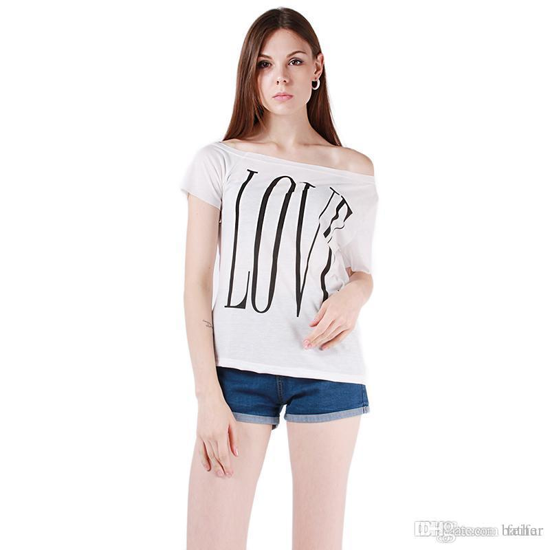 36661035d6aa83 Wholesale New Summer Women T Shirt Short Sleeve Tees T Shirts Sexy Off  Shoulder Tops White Black Letter LOVE Print Tees Plus Size DP658932 T  Shirts T Shirts ...