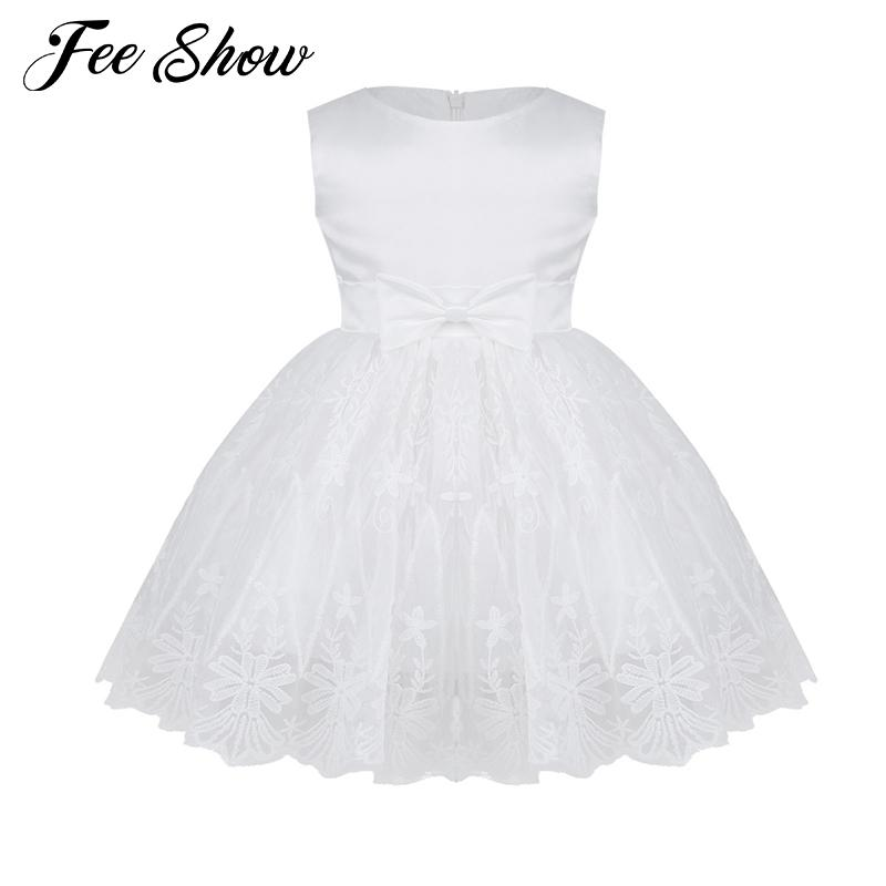 8d07d8e636011 Winter Dress For Girl Sleeveless White Baptism Dresses Baby Girl 1 Year  Birthday Wear Toddler Lace Christening Ball Gown