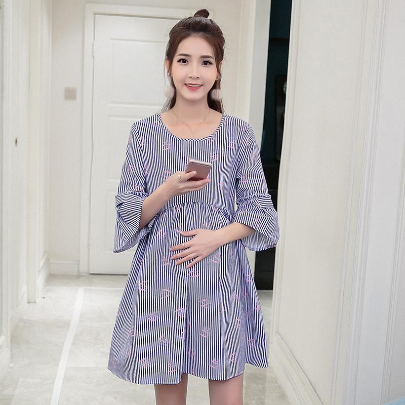 fa486cf22 Impreso a rayas sueltos maternidad Blusas Primavera verano Ropa de moda  coreana para mujeres embarazadas Embarazo Camisas Tops