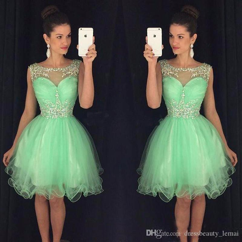 fb4c19431d3 2018 Cheap Mini Short Homecoming Dresses Crystal Beaded Sweet 16 Graduation  Dresses Little Chiffon Short Cocktail Dress Prom Party Dresses Fitted  Homecoming ...