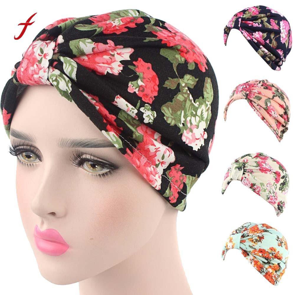 e73a999cd Floral Beanie Hat Women Spring Summer Thin Hat Printing CheHat Beanie Scarf  Turban Head Wrap Cap Lady Skullies Gorros Caps