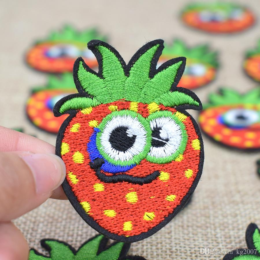 Diy Delicious Cute Strawberry Patches for Applique Striped Embroidery Clothing Patches for Garment Sewing Supplies Accessories Patch