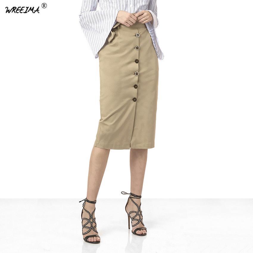 3d677781de 2019 WREEIMA 2018 Tie Waist Split Pencil Skirt Khaki Mid Calf Empire Waist  Sheath Skirt Women Autumn Plain Casual OL Work Skirts SQ08 From Fabian05,  ...