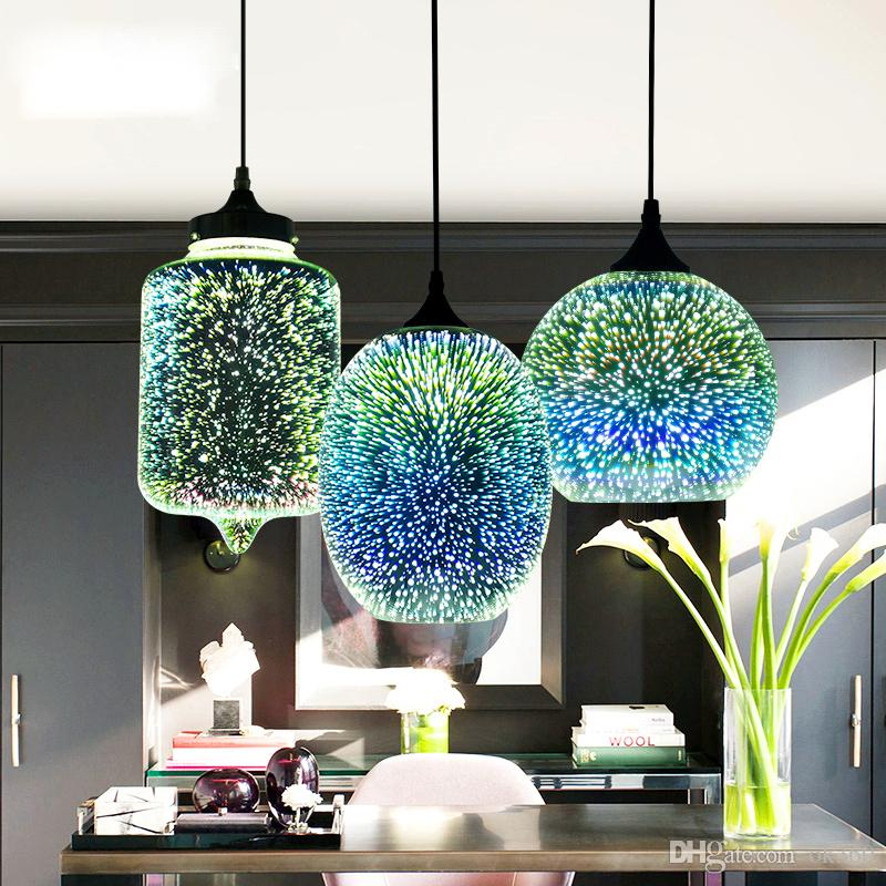 Horsten Nouveauté Moderne LED Pendentif Lumière Verre Suspensions Lampes 3D Conception Lampe E27 110 V 220 V Restaurant Pendentif Lampe Pour Bar Café Salon