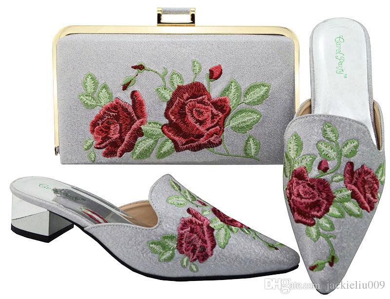 Venda quente cor vermelha de salto baixo 3.8 CM sapatas das senhoras woth flores bordado africano sapatos jogo bolsa combinada para o vestido MM6003