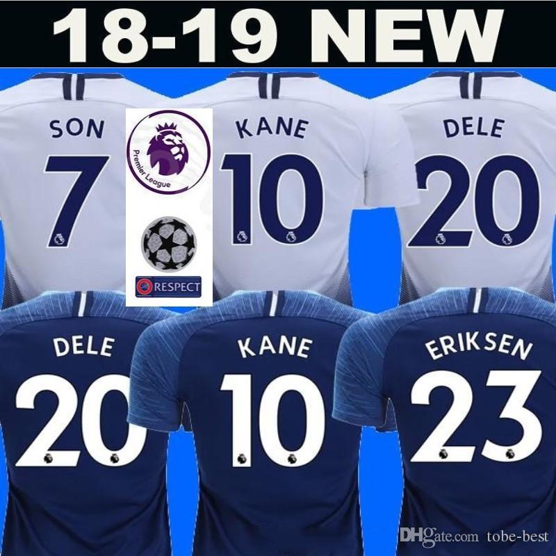 separation shoes 42c50 5e2cd 18 19 Season Soccer 19 DEMBELE Jersey Spur caliente 23 ERIKSEN 12 WANYAMA  MOURA LLORIS Football Shirt Kits Nombre personalizado Número Blue White