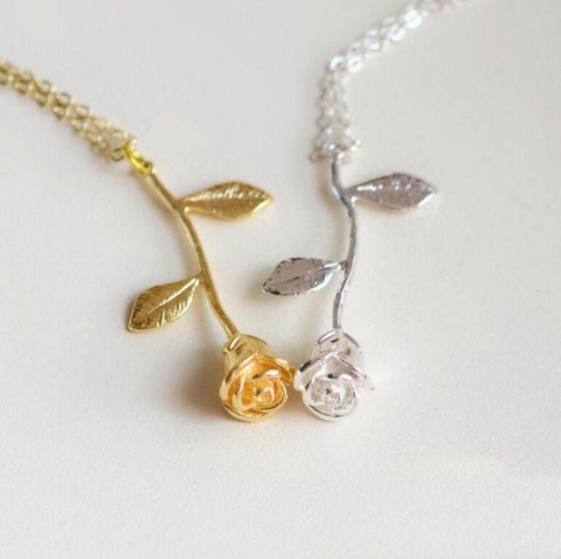 Creative New Fashion Roseflower Pendant Necklace for Valentine'\s Day Flower Pendant Necklace New Jewelry Gifts