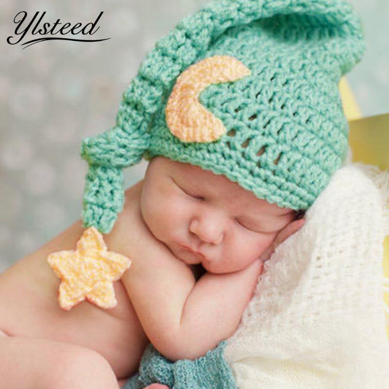 2019 Cute Newborn Photography Props Baby Knit Long Tail Hats Crochet Warm  Star Moon Cap Photoshoot Picture Props DIY Baby Album Gift From Babymom 2e720bd2b449