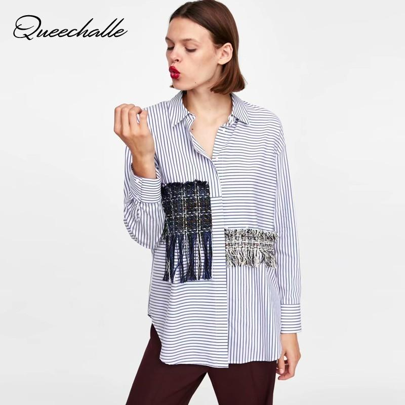 2354cde1 2019 Queechalle Women Striped Blouse Shirts Autumn Turn Down Collar Long  Sleeve Hidden Breasted Female Tassel Casual Loose Shirt Top From Jilihua,  ...
