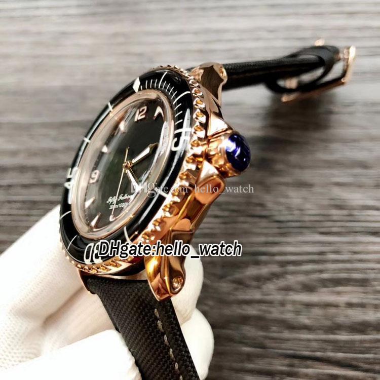 Fifty Fathoms 50 Fathoms 5015-3630-52 Japón Miyota 8215 Reloj automático para hombre con esfera negra, caja de oro rosa Correa de cuero Reloj para caballeros deportivos
