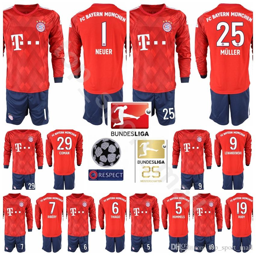 Compre Maillot Mangas Largas Bayern Munich Soccer 10 ROBBEN Set Hombres 25ª  Bundesliga 11 James Rodriguez 25 MULLER 7 RIBERY Uniformes Kits De Fútbol  ... 9d7607bd591e8