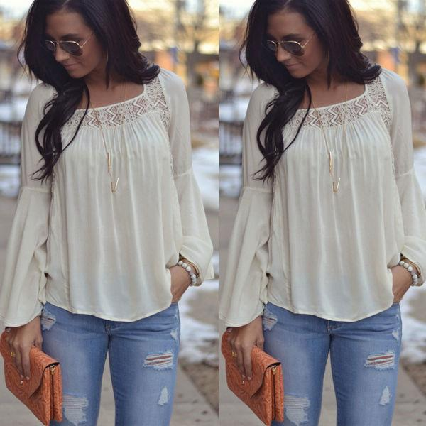 535c82a295 Compre 2018 Novas Mulheres Da Moda Das Senhoras Chiffon Manga Comprida Blusa  De Renda Branca Verão Casual Tassel Camisas Soltas Blusas De Lixlon03