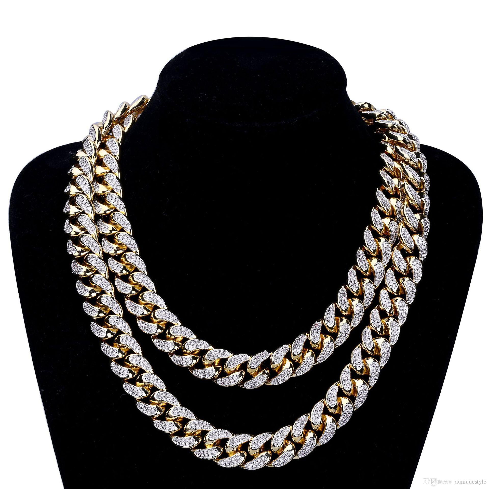 2018 Iced Out Gold Chains For Men Necklace Hip Hop Jewelry Luxury