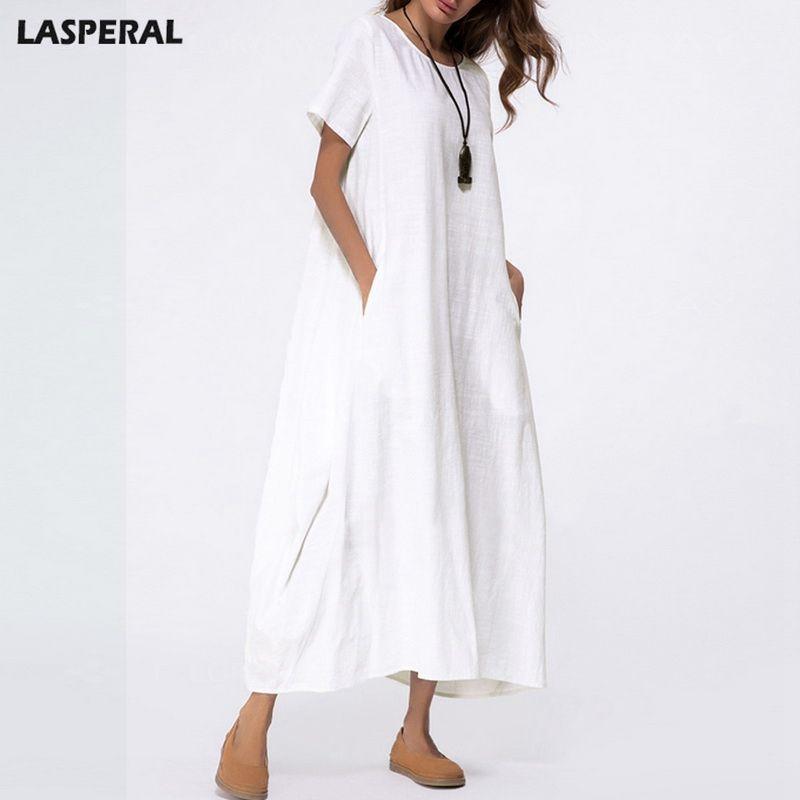 6ce04e58ca9 Wholesale Cotton Linen Dress Solid Boho Elegant Loose Short Sleeve Linen  Shirt Dress 2018 Women White Long Maxi Robe Summer Dress Green Dresses For  Teens ...