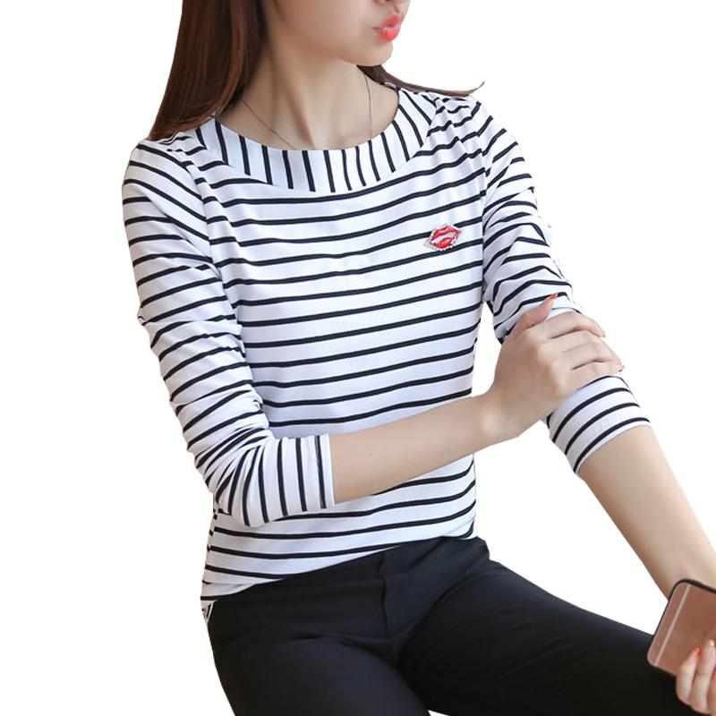 T Shirt Women Striped Tops 2018 Autumn Fashion Womens Long Sleeve Cotton Tops  Black White T Shirt Plus Size Woman Clothes XXXL S18100901 Tee Shirts Sale  ... 602012fdc6a2