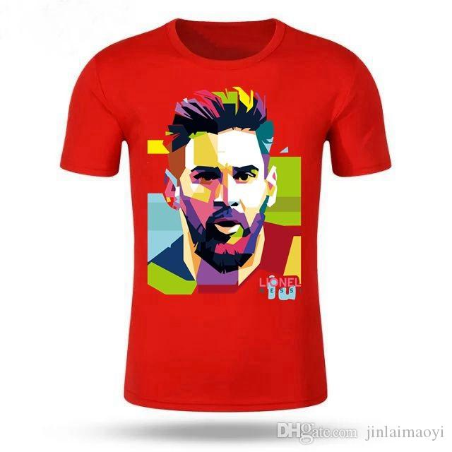 separation shoes 223dc a8846 NEW Lionel Messi T Shirt Men s Short Sleeve Messi T-shirt 100% Cotton  Tshirt Tops Argentina Jersey For Fans Tee pullover