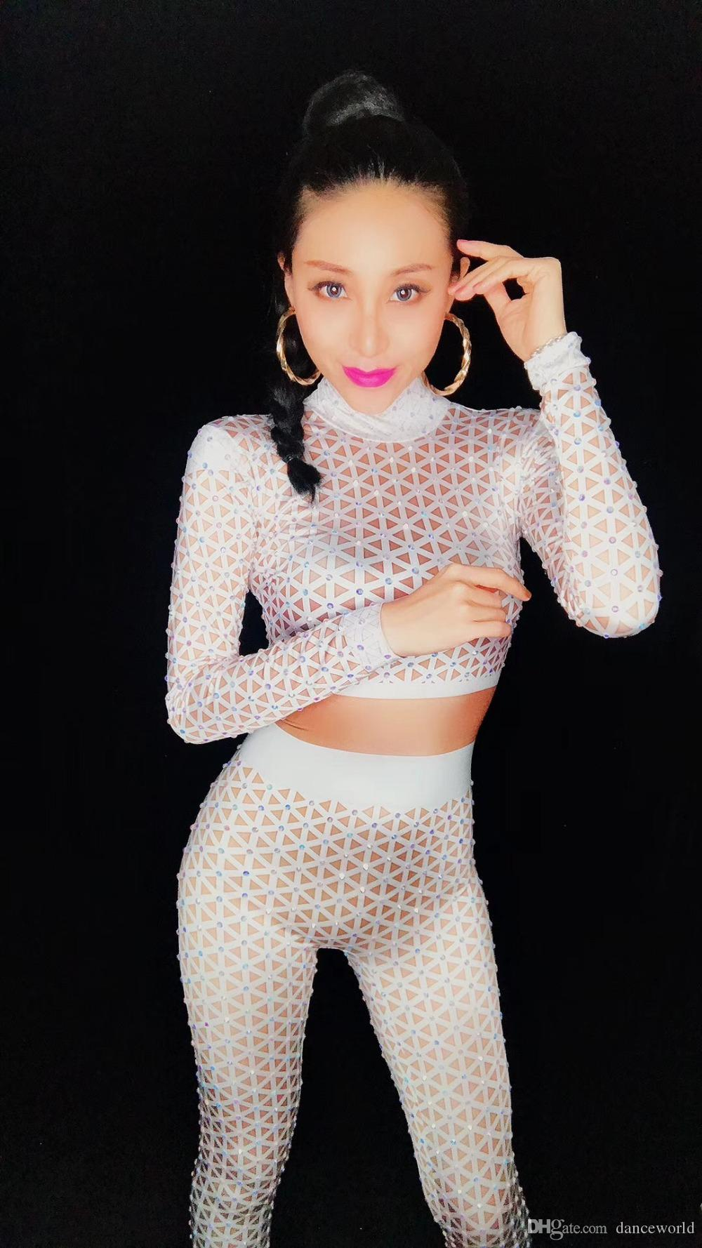 Ds Dj Dress Sexy White Nude Printed Jumpsuit Singer Dancer Sexy Leggings Costume Big Stretch Bodysuit Nightclub Outfit Party Wear