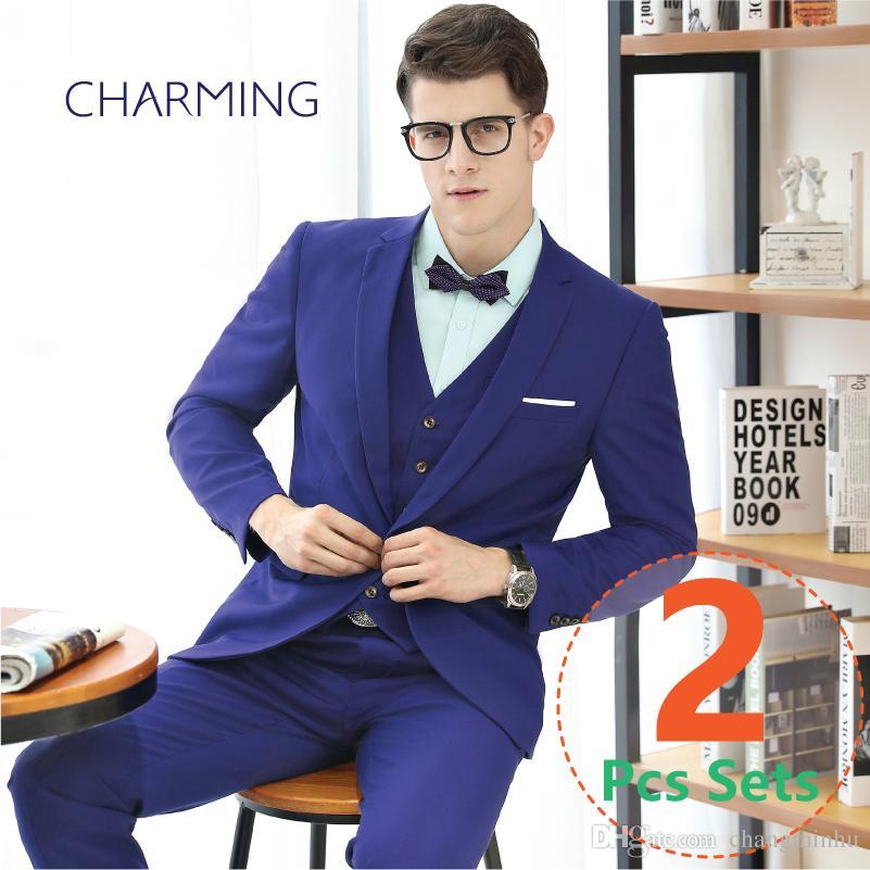 0877c40c1d Mens suits blue Business attire Mens suit jacket Suitable for business suits  for men Mens wedding suits 2pcs suits(jacket + pants)