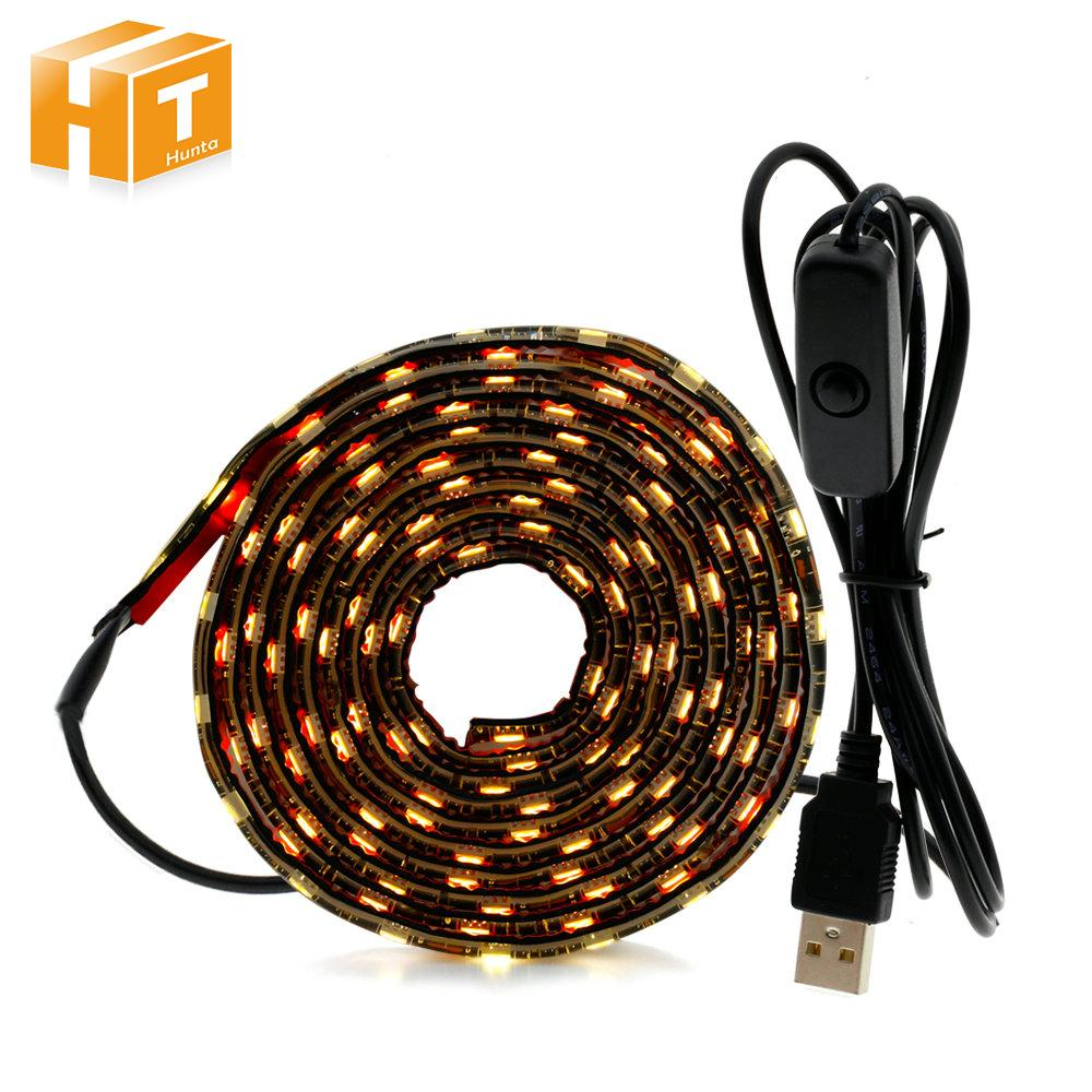 the latest d9119 2e9fd USB 5V LED Strip 5050 TV Background Lighting 50cm / 1m / 2m 60LEDs/m Warm  White White USB Cable with Switch Strip set