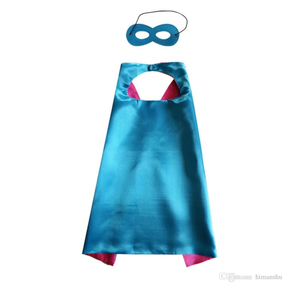 70cm * 70cm 일반 색 슈퍼 히어로 코스프레 케이프 마스크 2 레이어 새틴 코스프레 할로윈 코스프레 케이프