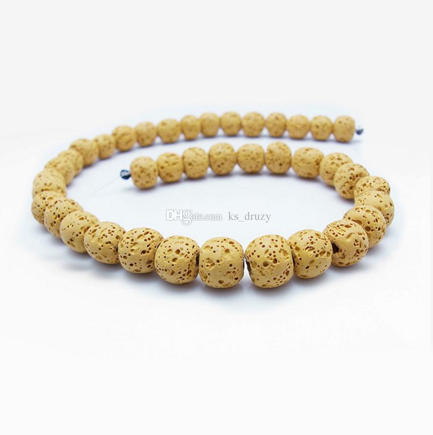1strand / 8 MM Lava volcánica natural perlas sueltas DIY aceite esencial difusor del encanto de los granos que hace la joyería accesorios