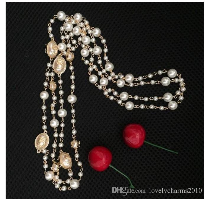 2016 Mode Femmes Chaîne D'or Élégant Perle Perlée Design Long Pull Chaîne Colliers Brins / Cordes Cadeau De Noël