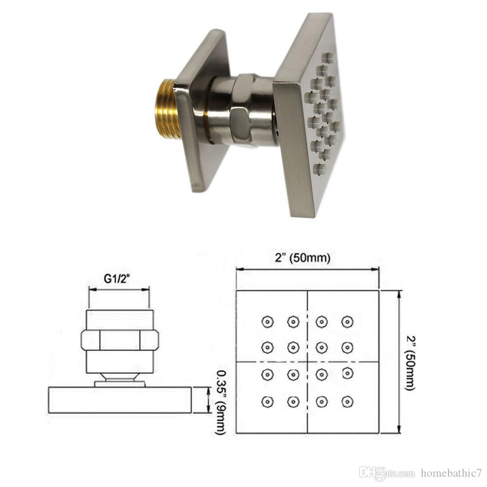 Luxury Brass Wall Mounted Shower Body Jets Spray For Spa Bath & Shower System Brushed Nickel