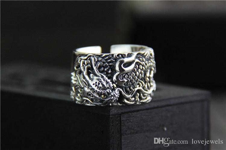 925 sterling silver ring vintage Exaggerated personality men's ring Thai silver carved dragon wide mood ring adjustable hip hop jewelry