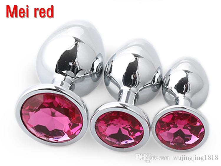 Small Middle Big Sizes Anal Plug Stainless Steel +Crystal Jewelry Anal Toys Butt Plugs Anal Dildo Adult Products for Women and Men