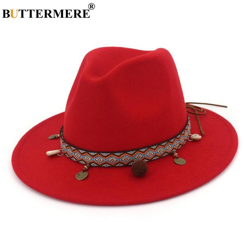 Acquista BUTTERMERE Rosso Fedora Cappelli Le Donne Etnico Stile Lana Feltro  Cappello Femminile Ampio Bordo Casual Signore Autunno Vacanza Tappi Jazz  Moda A ... e0b652b87916