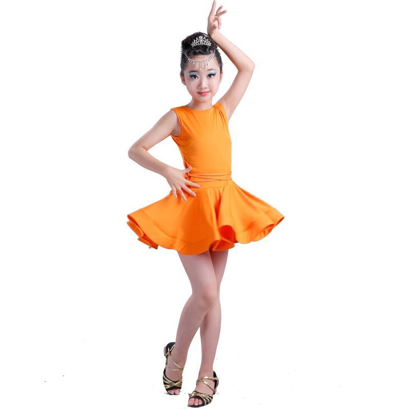 d5efc484a 2019 Girl Short Sleeves Standard Latin Dance Dress Children Ballroom ...