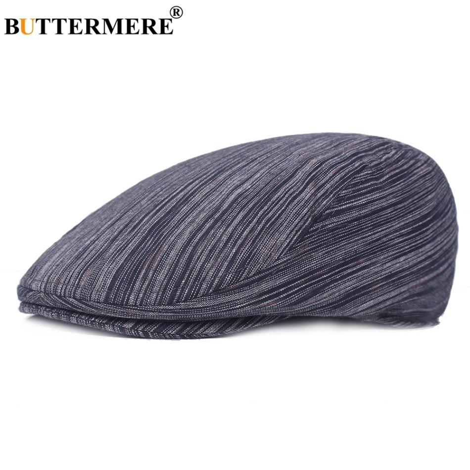 f8afc5ed96d81 2019 BUTTERMERE Cotton Beret Men Stripe Navy Blue Ivy Duckbill Hats Male  Casual British Vintage Summer Autumn Classic Flat Caps New From Huazu