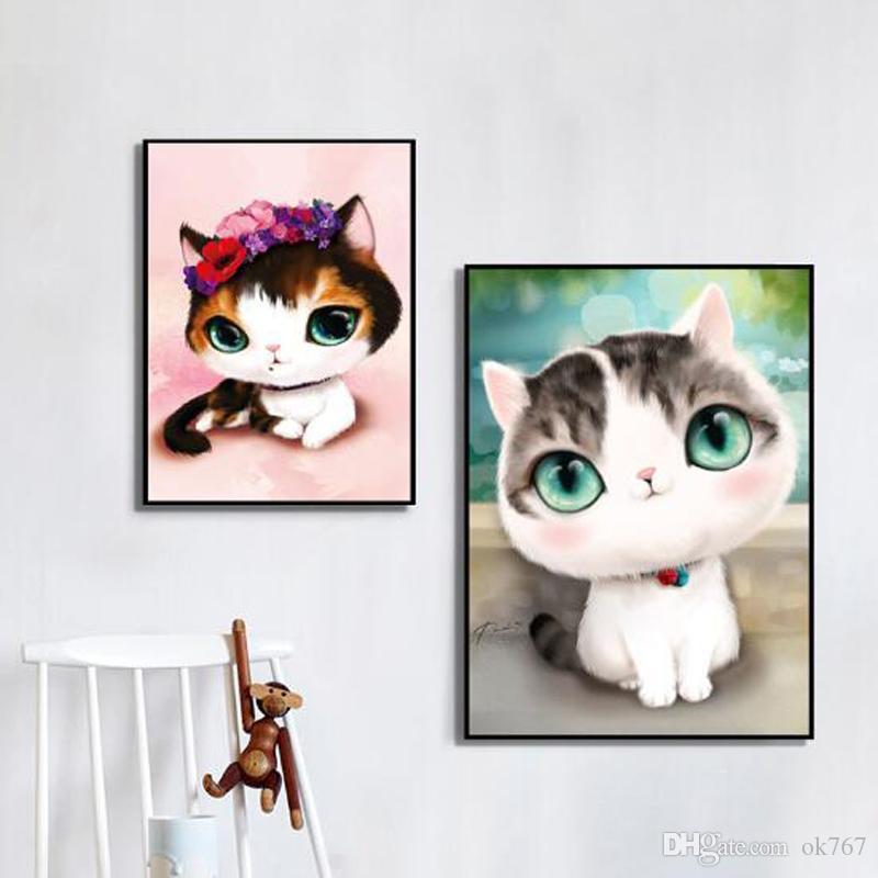 Compre 100% Diy 5d Diamante Gatos De Dibujos Animados Diamante Hecho ...