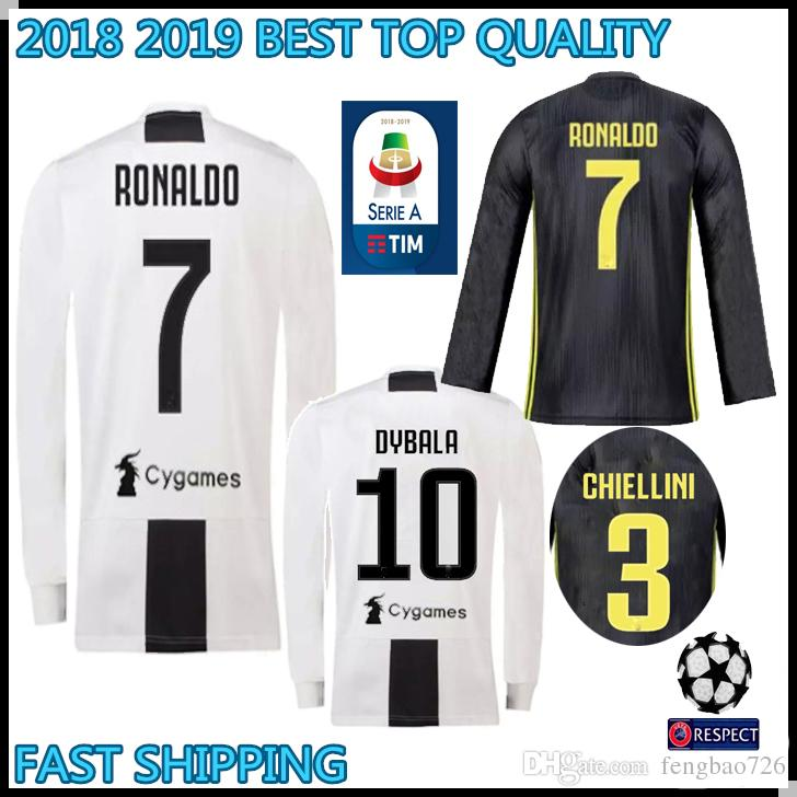 Compre 2018 2019 Juventus Manga Longa Camisa De Futebol 18 19   7 RONALDO  DYBALA Camisa De Futebol MARCHISIO MANDZUKIC PJANIC BONUCCI Uniforme De  Futebol De ... cf320c2b10b9b