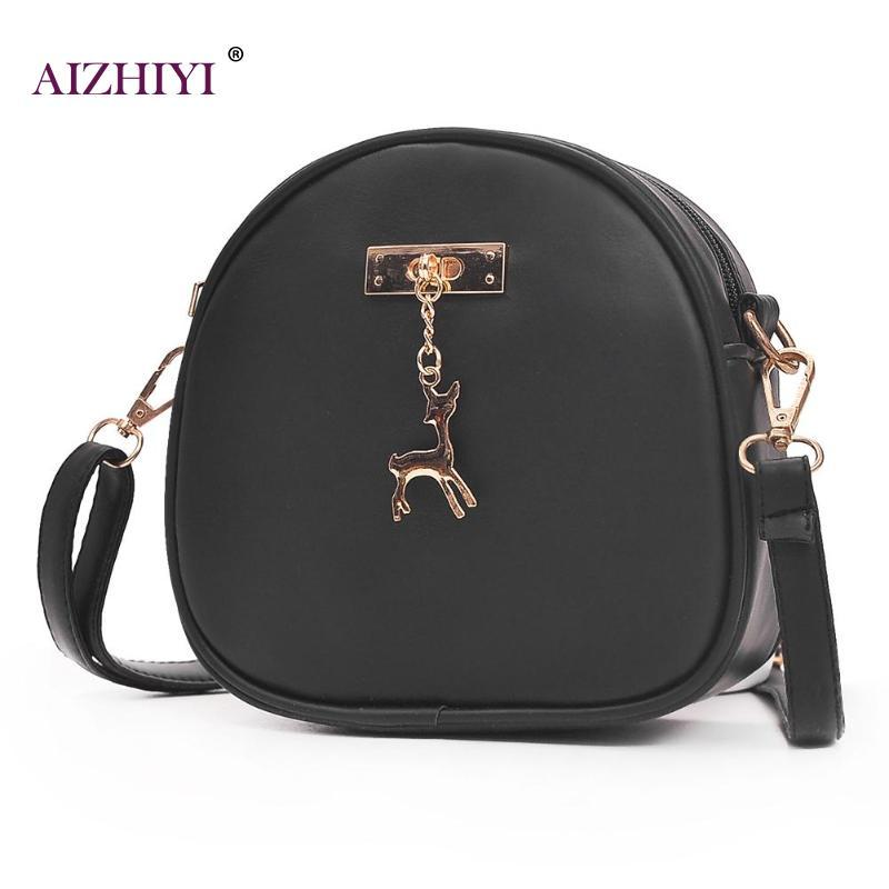 a7d1360fa4 Women PU Leather Shoulder Bag with Deer Pendant Girl Mini Round ...