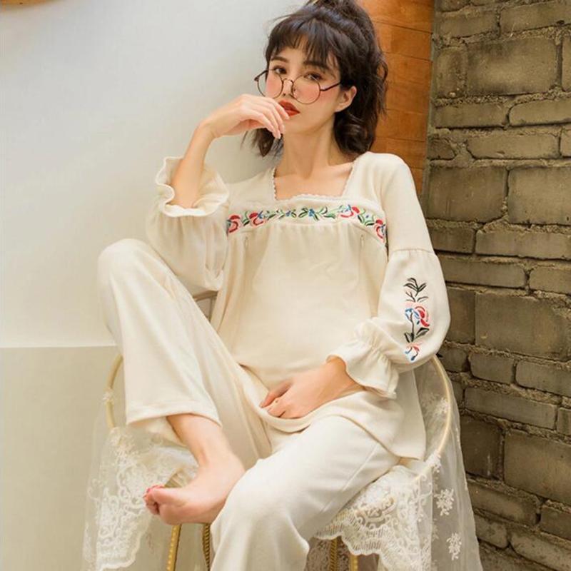 a3eb3f28336 2019 New Cotton Maternity Nursing Nightwear Spring Autumn Fashion Sleepwear  For Pregnant Women Pregnancy Pajamas A140 From Paradise13