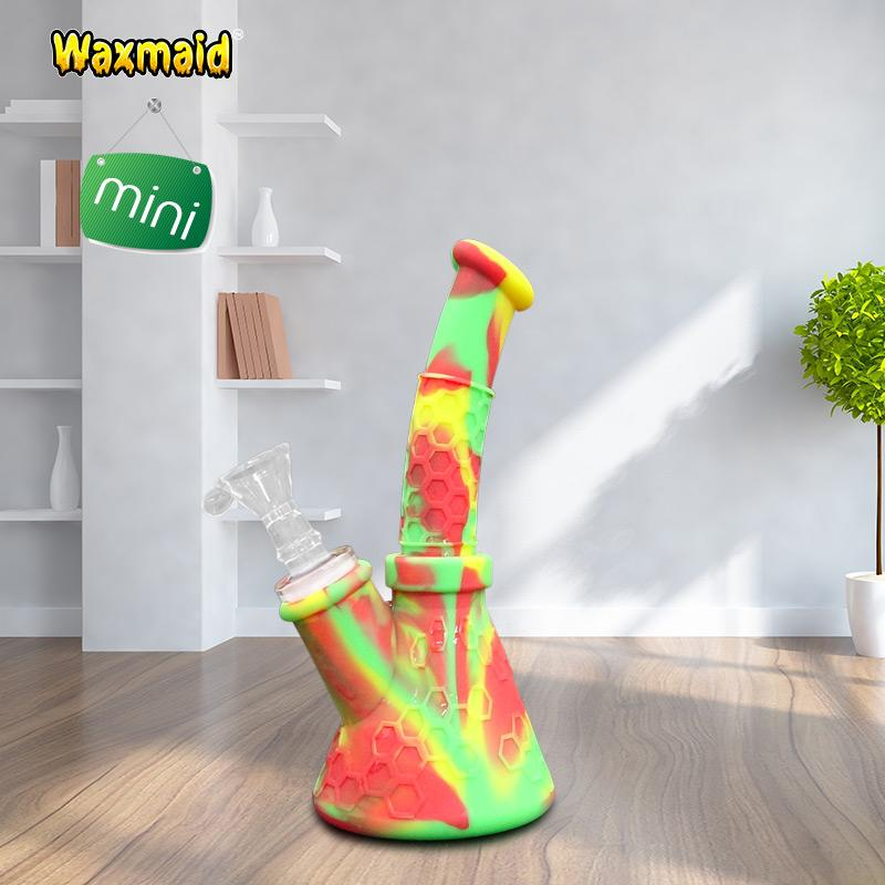 Bong Silicone Bong Recycle Bubbler Oil Burner Pipe Silicone Water Pipe Mini Dab Rig with Glass Bowl Factory Wholesale Discount