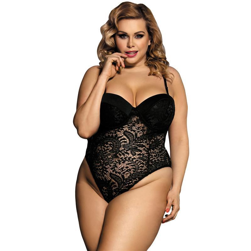cf77950ab Meias Arrastão Sólida Halter Lace Push Up Copa Teddy Lingerie Sexy Plus Size  Transparente Sexy Bodysuit Lingerie Erótica Para As Mulheres Roupas S927 ...