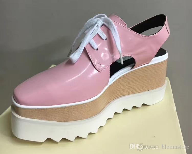 Luxus Designer Damen Cut-Out-Plattform-Schuhe Top-Qualität Damen Thick Heels Wohnungen Wedges Oxfords Elyse Turnschuhe Sling Sandalen