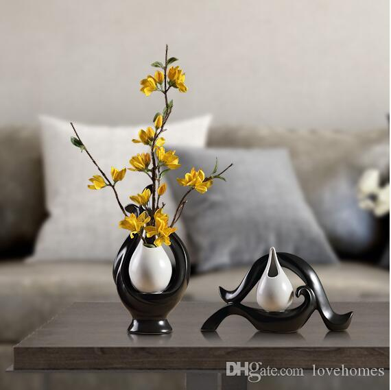 Modern Lucky Heart2 Shape Ceramic Vase for Home Decor Tabletop this pirce is for a set vase and flowers together S01
